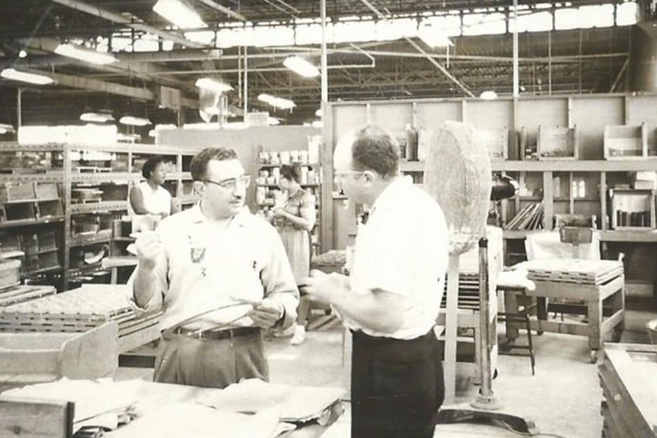 Higgins glass being manufactured at Dearborn Glass for Marshall Field's
